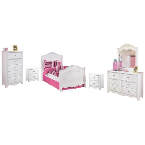 Twin Sleigh Bed With Mirrored Dresser, Chest and 2 Nightstands