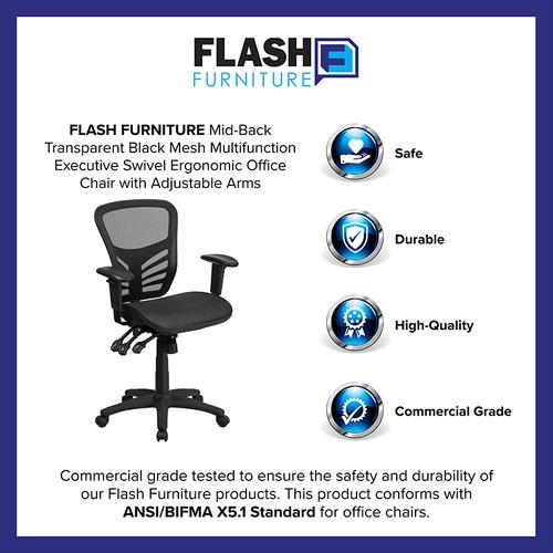 Flash Furniture - Mid-Back Transparent Black Mesh Multifunction Executive Swivel Ergonomic Office Chair with Adjustable Arms
