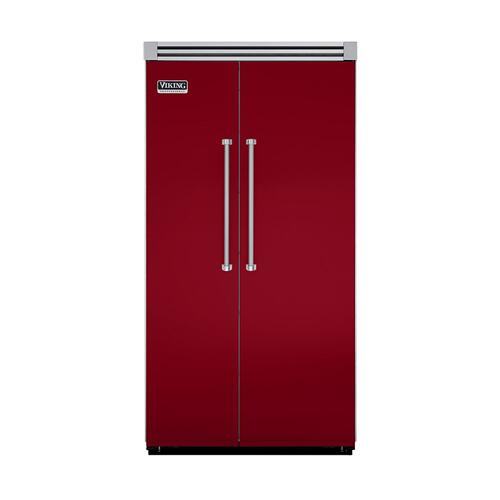 "Viking - Apple Red 42"" Quiet Cool™ Side-by-Side Refrigerator/Freezer - VISB Tru-Flush™ (42"" wide)"
