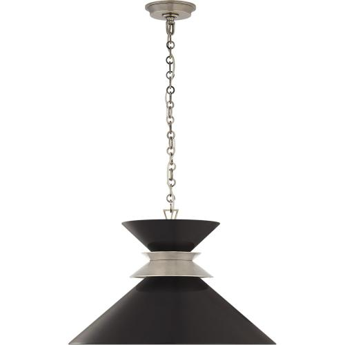 Visual Comfort CHC5245AN-BLK E. F. Chapman Alborg 1 Light 24 inch Antique Nickel Pendant Ceiling Light in Matte Black, Large Stacked