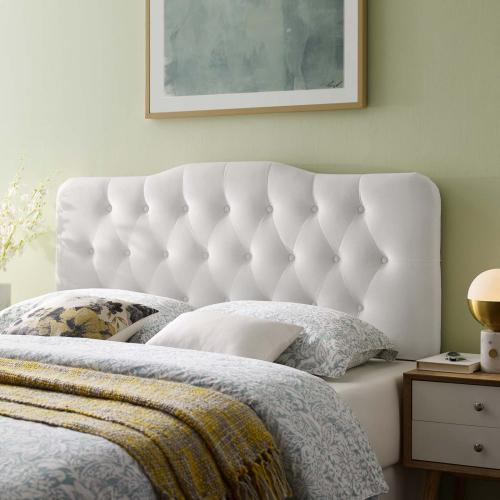 Annabel Full Diamond Tufted Performance Velvet Headboard in White