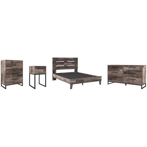 Queen Platform Bed With Dresser, Chest and Nightstand