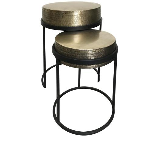 Crestview Collections - Hudson Textured Brass Nesting Tables,Set of 2