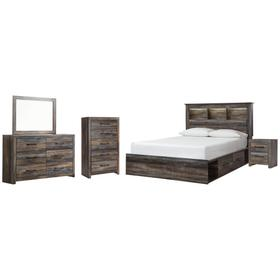 Queen Bookcase Bed With 4 Storage Drawers With Mirrored Dresser, Chest and Nightstand