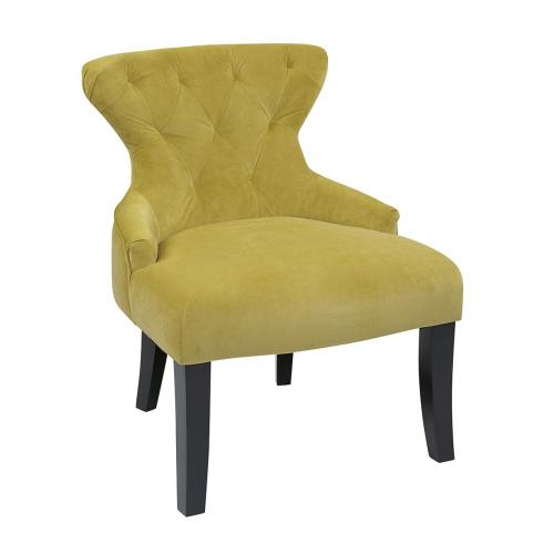 Curves Hour Glass Accent Chair In Basil Velvet Fabric With Espresso Legs