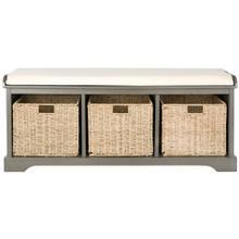 See Details - Lonan Wicker Storage Bench - Grey / White