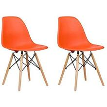 See Details - Eiffel Dining Room Chair with Natural Wood Legs - Reproduction - Set-of-2, Orange