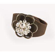 BTQ Leather Cuff Bracelet with Cream Beaded