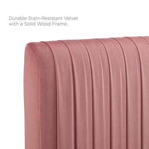 Eloise Channel Tufted Performance Velvet Twin Headboard in Dusty Rose