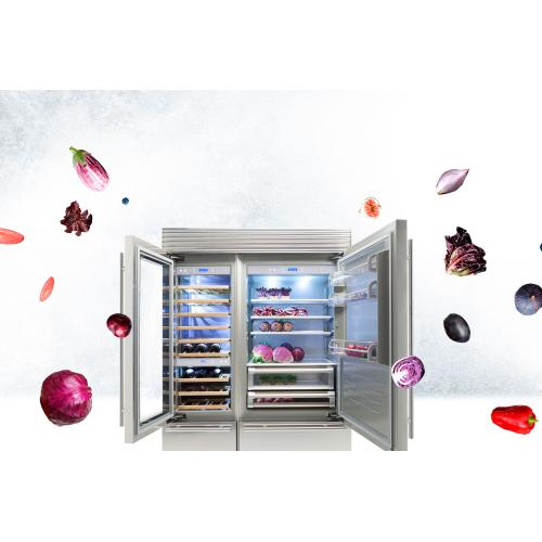 X-Pro (Width: 24in, Configures: 1 Door + 1 Bottom Drawer + 3 Separate Temperatures (1t), Functions: Wine Cellar, Finish: Glass, Opening: Left, Icemaker: No)