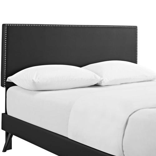 Modway - Macie Full Vinyl Platform Bed with Round Splayed Legs in Black
