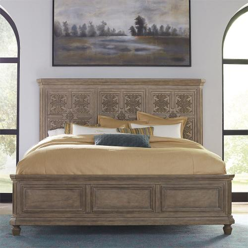 King Opt California Panel Bed, Dresser & Mirror, Chest