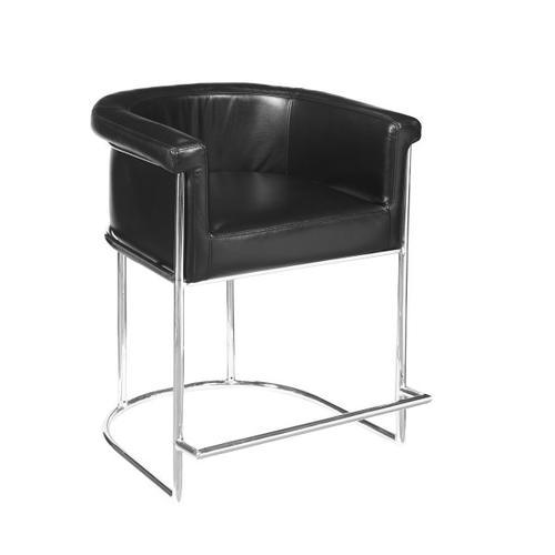 Barrel-Style Modern Upholstered Counter Stool in Black