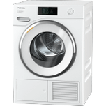 MieleTXR860WP Eco & Steam - T1 Heat-pump tumble dryer with Miele@home and SteamFinish for smart laundry care.
