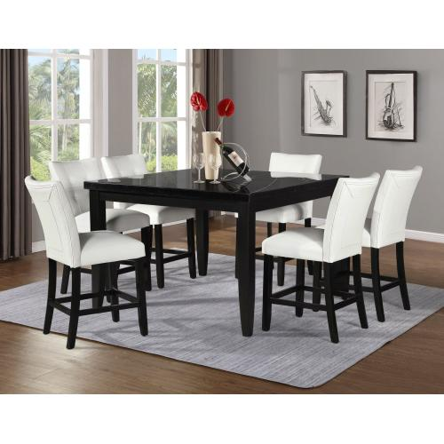 Markina 54-inch Square Black Marble Counter Table