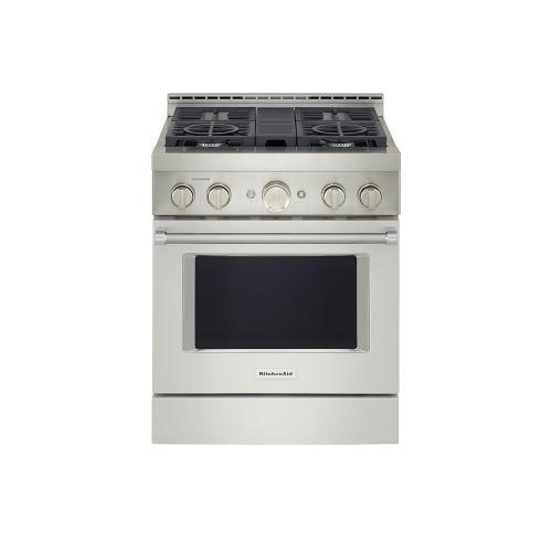 KitchenAid® 30'' Smart Commercial-Style Gas Range with 4 Burners - Matte Milkshake