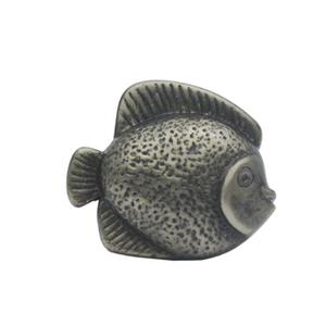Solid brass fish-shaped knob. Product Image
