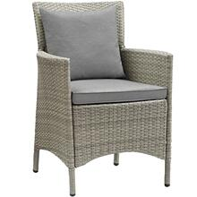 Conduit Outdoor Patio Wicker Rattan Dining Armchair in Light Gray Gray