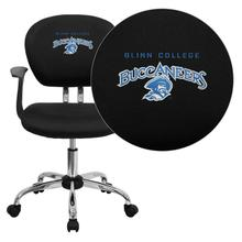 Blinn College Buccaneers Embroidered Black Mesh Task Chair with Arms and Chrome Base
