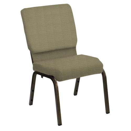 Flash Furniture - HERCULES Series 18.5''W Church Chair in Bedford Olivette Fabric - Gold Vein Frame