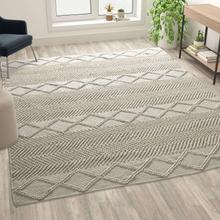 See Details - 8' x 10' White & Ivory Geometric Design Handwoven Area Rug - Wool\/Polyester\/Cotton Blend
