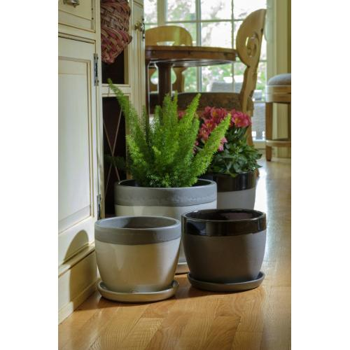 Chic Collar Planter w/ attached saucer, White S/2