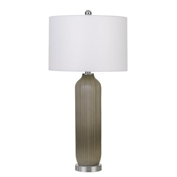 150W Catalina Glass Table Lamp With Drum Hardback Fabric Shade