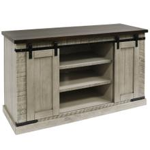 ANTIQUE WHITE TWO TONE  52in w X 32in ht X 18in d  Sliding Barn Door Pine Media Console with Remo