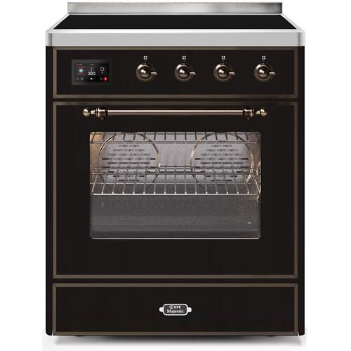 30 Inch Glossy Black Electric Freestanding Range