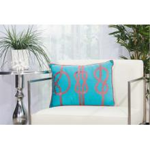 "Outdoor Pillows L1593 Turquoise/coral 14"" X 20"" Throw Pillow"