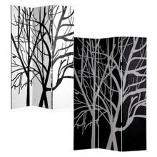 See Details - 3-Panel Double Sided Canvas Room Divider Screen - Black and White Tree