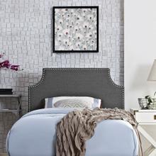 Laura Twin Upholstered Fabric Headboard in Gray