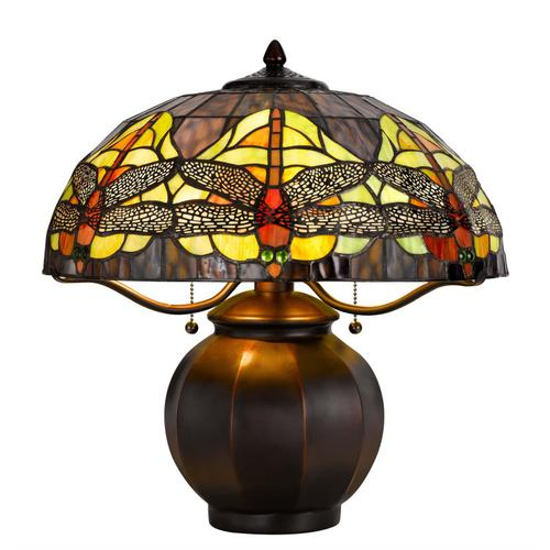 60W x 2 Tiffany table lamp with pull chain switch with metal lamp body