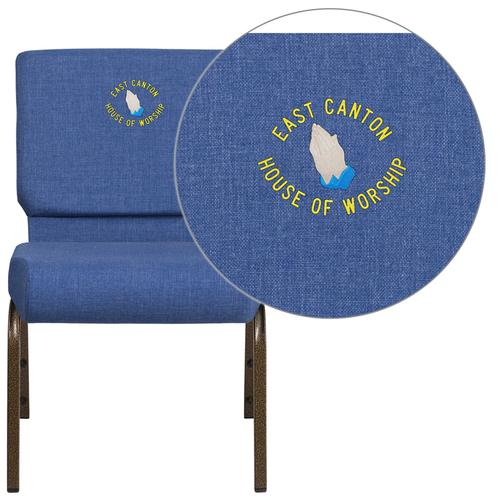 Embroidered HERCULES Series 21'' Extra Wide Blue Fabric Stacking Church Chair with 4'' Thick Seat - Gold Vein Frame