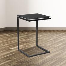 See Details - Burbank Black Glass End Table with Black Metal Frame