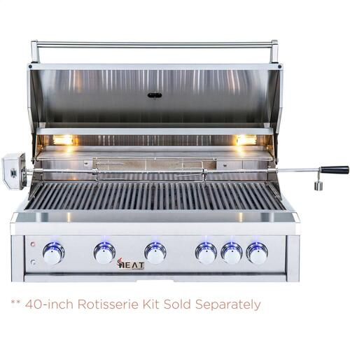 "HEAT 40"" 5-Burner Gas Grill w/ Infrared Burner - LP"