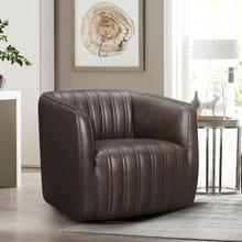 See Details - Aries Espresso Genuine Leather Swivel Barrel Chair