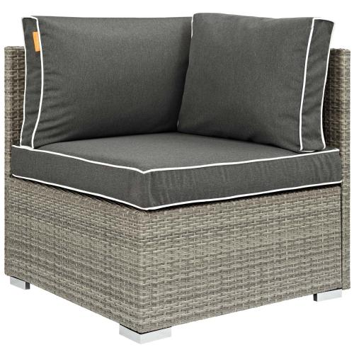 Repose 6 Piece Outdoor Patio Sectional Set in Light Gray Charcoal