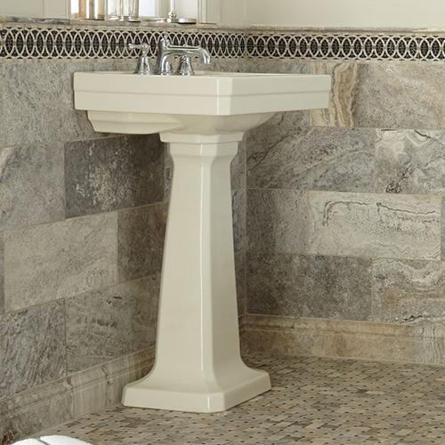 Dxv - Fitzgerald 28 Inch Pedestal Bathroom Sink- Three Faucet Holes - Biscuit