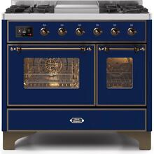Majestic II 40 Inch Dual Fuel Liquid Propane Freestanding Range in Blue with Bronze Trim