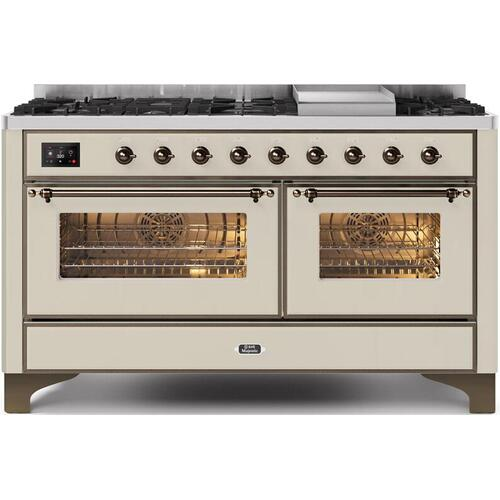 Gallery - Majestic II 60 Inch Dual Fuel Natural Gas Freestanding Range in Antique White with Bronze Trim
