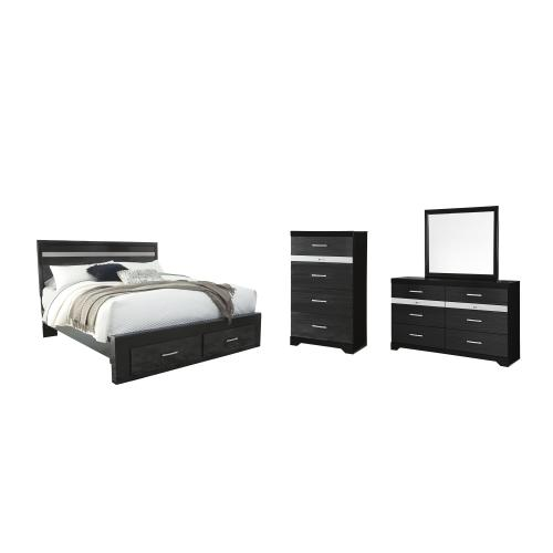 Ashley - King Panel Bed With 2 Storage Drawers With Mirrored Dresser and Chest