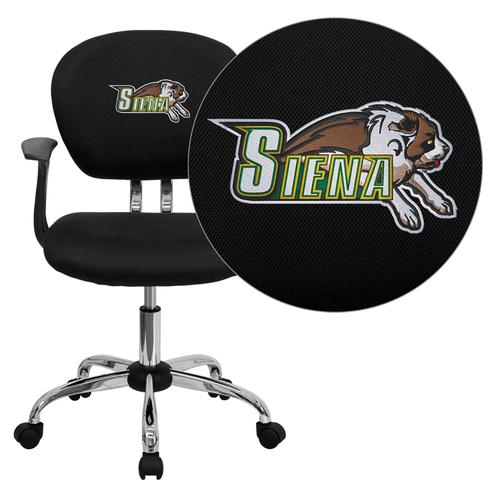 Siena College Saints Embroidered Black Mesh Task Chair with Arms and Chrome Base