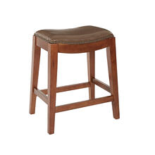 "Metro 24"" Saddle Stool With Nail Head Accents and Espresso Finish Legs With Molasses Bonded Leather"