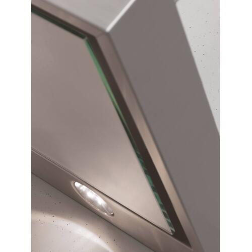 DA 6596 W Puristic Canto - Wall ventilation hood with energy-efficient LED lighting and backlit controls for easy use.