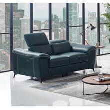Divani Casa Melstone - Modern Blue Leatherette Loveseat w/ Electric Recliners