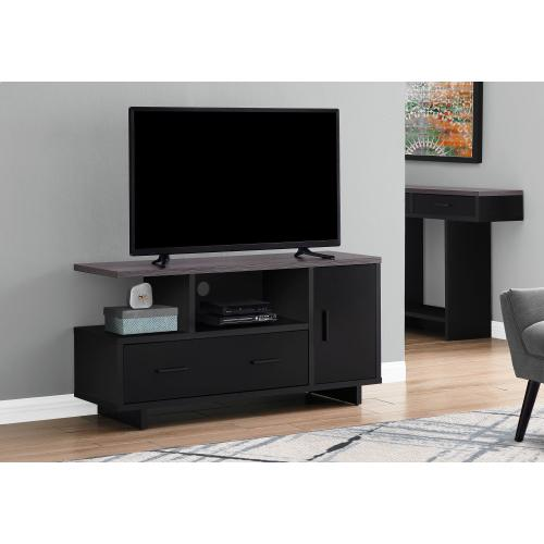 "TV STAND - 48""L / BLACK / GREY TOP WITH STORAGE"