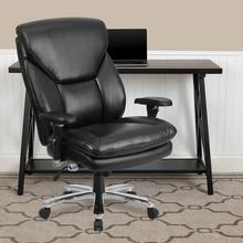 View Product - HERCULES Series 24\/7 Intensive Use Big & Tall 400 lb. Rated Black LeatherSoft Ergonomic Office Chair with Lumbar Knob