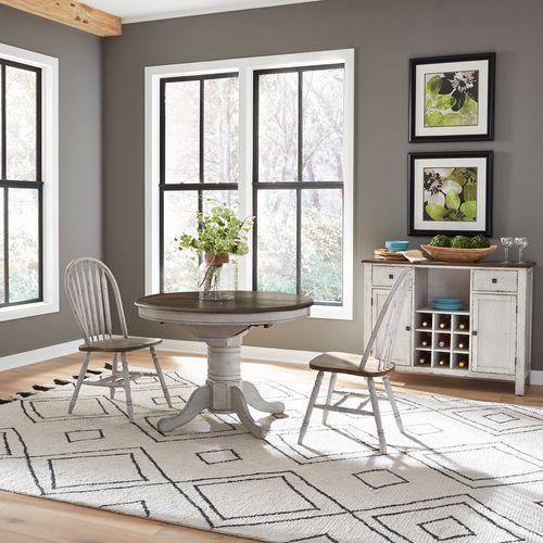 Gallery - 3 Piece Round Table Set- White