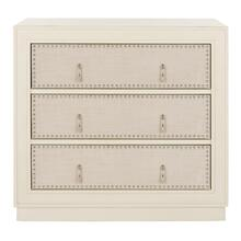 Lupita 3 Drawer Chest - Antique Beige / Beige Linen / Nickel
